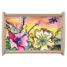Multicolor Pop Flowers Small Serving Tray, Natural