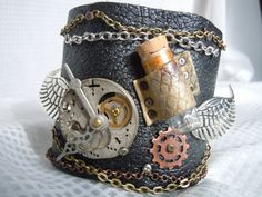 Steampunk Watchmaker's Assemblage Leather Cuff by TimeFound, $20.00