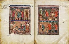 The Rylands Haggadah: The Burning Bush and the Miraculous Staff of Moses (right); The Healing of Moses's Arm, the Return to Egypt, and Zipporah Circumcising Her Son (left), mid-1300s, tempera, gold and ink on parchment, Catalan