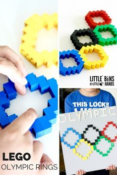 LEGO Olympic Rings Activity! Build the Olympic rings for the Summer Olympics this year! Use basic LEGO bricks and learn about the colors of the rings too! Perfect summer activity for multiple ages.