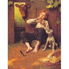 Barefoot Boy Playing Flute