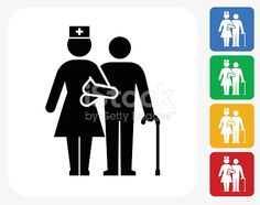 Patient with Female Nurse Icon. This 100% royalty free vector illustration features the main icon pictured in black inside a white square. The alternative color options in blue, green, yellow and red...