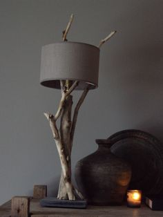 Like that the shade looks like it's floating Wooden Lamp, Wooden Diy, Tree Lamp, Old Lights, Driftwood Crafts, Chandelier Lamp, Lampshades, Home Lighting, Wall Colors