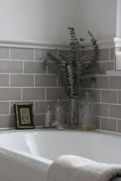 Grey Bathroom Renovation Ideas: bathroom remodel cost, bathroom ideas for small bathrooms, small bathroom design ideas Upstairs Bathrooms, Grey Bathrooms, Beautiful Bathrooms, Grey Bathroom Decor, Tiled Bathrooms, Small Bathroom Tiles, Grey Bathroom Tiles, Paint Bathroom, Bath Room Tile Ideas