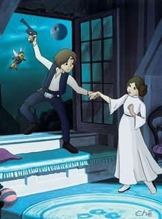 Han & Leia as Peter & Wendy #starwars