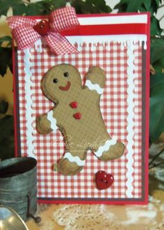 gingerbread man card/make with a real cookie sheet? Homemade Christmas Cards, Christmas Cards To Make, Kids Christmas, Homemade Cards, Handmade Christmas, Holiday Cards, Christmas Crafts, Gingerbread Crafts, Gingerbread Man