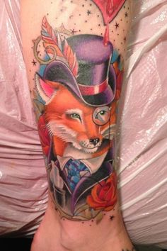 Clever Fox Tattoo Design. As described earlier, foxes are clever creatures and this is explained with this tattoo enough.