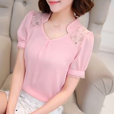 Blusa manga fofa e meia gola - DIY - molde, corte e costura - Marlene Mukai // Татьяна Неизвестная Fashion Casual, Women's Summer Fashion, Trendy Fashion, Cute Blouses, Shirt Blouses, Shirts, Diy Clothes, Clothes For Women, Moda Casual