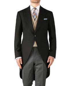 Charles Tyrwhitt Black classic fit herringbone morning suit tail coat