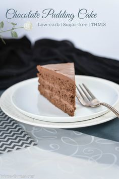 Chocolate Pudding Cake {Low-carb, Sugar-free, THM:S} - moist chocolate cake (not containing any vegetables this time) layered together with chocolate pudding and topped with almond milk ganache.