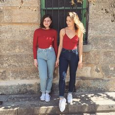 Kelsey and Bridget from Sydney in Red Rib. #AmericanApparel #AAemployees #Sydney