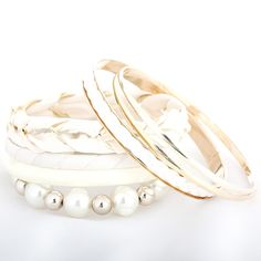 Pastoralism Cloth Woven Multilayer White Bracelets for Women