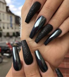 Chrome nail is a popular nail art design in recent years. Chrome nails use the latest technology. They use some gold or silver or other metallic colors to make them look metallic. Have you tried Chrome nail art designs before? Black Chrome Nails, Chrome Nail Art, Black Acrylic Nails, Black Coffin Nails, Black Nail Art, Long Black Nails, Metallic Nails, Stiletto Nails, Chrome Nails Designs