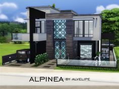 If you're looking for a modern and luxurious home for a small family Alpinea may be the perfect choice! Built on a 3020 lot and located in Newcrest this house has a spacious kitchen attached to Sims 4 Modern House, Sims 4 House Design, Home Gym Design, Modern House Design, Modern Family House, Sims 4 House Building, Sims House Plans, Small Luxury Homes, The Sims 4 Lots