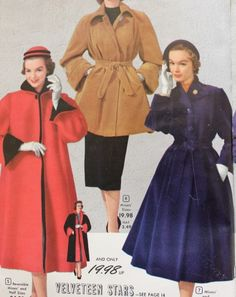 History of 1950s Coats and Jackets: Colorful 1950s Coats in Long, Trench and Swing Styles