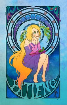 Art Nouveau Disney Princesses - Rapunzel