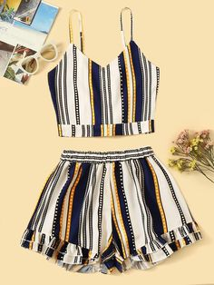 To find out about the Plus Multicolored Striped Cami Top With Tiered Layer Shorts at SHEIN, part of our latest Plus Size Co-Ords ready to shop online today! Teen Fashion Outfits, Outfits For Teens, Girl Outfits, Ad Fashion, Emo Outfits, Lolita Fashion, Girl Fashion, Fashion Dresses, Striped Cami Tops