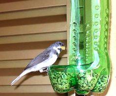 DIY Bird Feeders (use up plastic bottles) Soda Bottle Crafts, Plastic Bottle Crafts, Recycle Plastic Bottles, Homemade Bird Feeders, Diy Bird Feeder, Recycled Crafts, Diy And Crafts, Crafts For Kids, Recycling