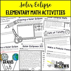 Are you ready for August 21, 2017? A Total Solar Eclipse will be visible for a large part of the United States. This Solar Eclipse Elementary NO PREP Math Activities is a great activity for Science or Math class with your students! This packet teaches students about solar