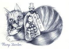 Alice by MarySteinlen.deviantart.com on @DeviantArt Alice in Wonderland in a bottle and cat illustration