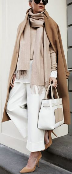 Neutral Outfit: Blair Eadie is wearing white trousers from Philip Lim, brown shoes from Joe Fresh, camel top from Otte, scarf from Culb Monaco and the bag is from Reed Krakoff