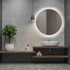 Badkamerspiegel Lana Rond 80x80cm Koper Geintegreerde LED Verlichting Touch Schakelaar Bathroom Goals, Bathroom Organization, Bathroom Inspiration, Master Bathroom, Toilet, New Homes, Shower, Interior Design, Mirror