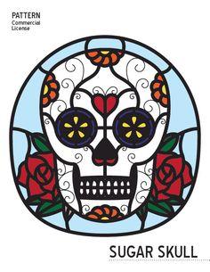 Stained Glass Pattern - Dia de los Muertos Sugar Skull | Day of the Dead Sugar Skull • Resale Friendly de shellebelledesigns en Etsy https://www.etsy.com/es/listing/248239507/stained-glass-pattern-dia-de-los-muertos