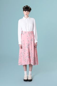 Button-through Midi Skirt in Floral Printi just wante EVERYTHING from the whitepepper to be honest