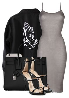 """Untitled #283"" by goldenbarbiie ❤ liked on Polyvore featuring Rick Owens, Yves Saint Laurent and Giuseppe Zanotti"