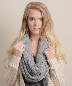 Look at this #zulilyfind! Gray Ultrasoft Bouclé Knit Infinity Scarf by Leto Collection #zulilyfinds