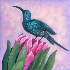 Hummingbird Original Oil Painting on Canvas, Small Framed Oil Painting, Gift Art, Original Protea Flowers Canvas Gift Art, Home Decor by IrinaRedineArt on Etsy Protea Flower, Flowers, Small Canvas Art, Bird Artwork, Beautiful Paintings, Oil Painting On Canvas, 3 D, Original Paintings, Hummingbird