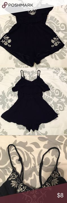 Lush Spaghetti Strap Romper size S Cute LUSH romper! Great casual piece w/ adjustable straps. Does show some signs of wear from being washed, as can be seen some on the straps and label. Otherwise, no stains or flaws! Lush Dresses Mini