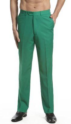 Concitor Men's Dress Pants Slacks Flat Front Trousers Emerald Green