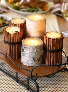 candle idea from the Pottery Barn: http://www.potterybarn.com/design-studio/video/flameless-candle-living.html
