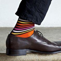 Funky socks TWO - Leichtgestreift auf Knallorange