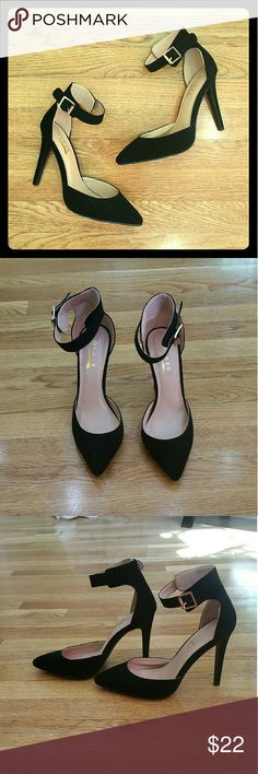 "Ankle Strap Almond Toe High Heels - Black Chic and gorgeous black vegan suede heels with a pointy almond toe and ankle strap! 4"" heel. Fit is narrow but true to size. Shoes Heels"