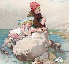 Children at the Shore Seaside   Lizzie Lawson