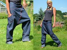 Jeans Sarouel Größe 42 Haremshose rot Denim Fashion, Hijab Fashion, Boho Fashion, Jeans Pants, Harem Pants, Estilo Denim, Baggy, Recycle Jeans, Recycled Denim
