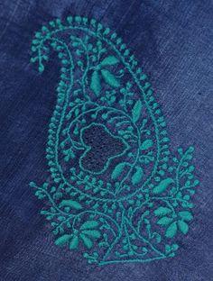 Turquoise Paisley on Indigo Silk