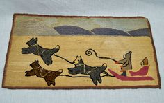 """""""Early Grenfell Classic Dogsled Scene"""" hooked rug."""