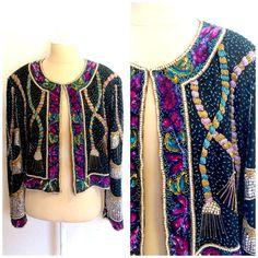 Vintage Retro Beaded Silk Gatsby Jacket