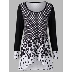 Polka Dot and Floral T-Shirt, WHITE/BLACK, XL in Long Sleeves | DressLily.com