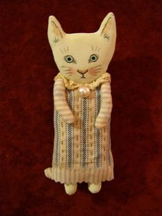 RESERVED for Wendy Christmas cat art doll sandy by sandymastroni
