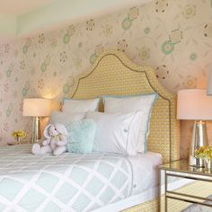 Little girl bedroom; Serena and Lily. dang I love those pottery barn mirrored nightstands...