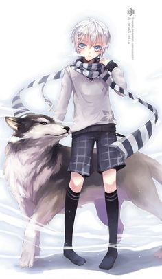 little white haired boy with wolf partner