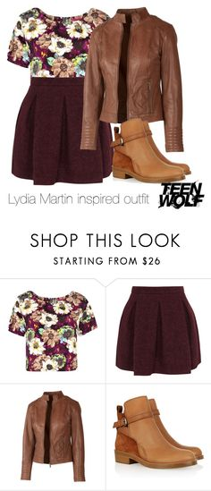 """Lydia Martin inspired outfit/Teen Wolf"" by tvdsarahmichele ❤ liked on Polyvore featuring Boohoo, Karl Lagerfeld, Fat Face and Acne Studios"