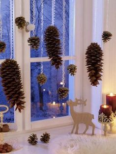 Hang Pinecones for Christmas Window Decorations