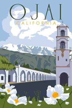 Ojai, California, travel poster by Steve Thomas, part of his 'Just Looking Gallery' series focusing on the Central California Coast. Ojai California, Vintage California, California Travel, Ventura California, Poster Retro, Vintage Travel Posters, Steve Thomas, Party Vintage, Poster Series
