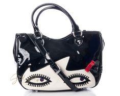 Lulu Guinness Black Glossy Satchel Wanda Doll Face Eyes Bag  #GidgetLovesFashion #LuluGuinness #Wanda #Handbag #BlackAndWhite