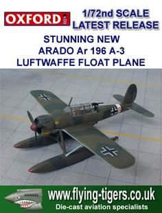AC027  Stunning 1/72nd Scale Arado Ar 196 A-3 Luftwaffe Float Plane - Found on all the Kriegsmarine Warships - Small re-stock of this classic release!